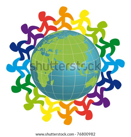 Logo - people on the earth - stock photo