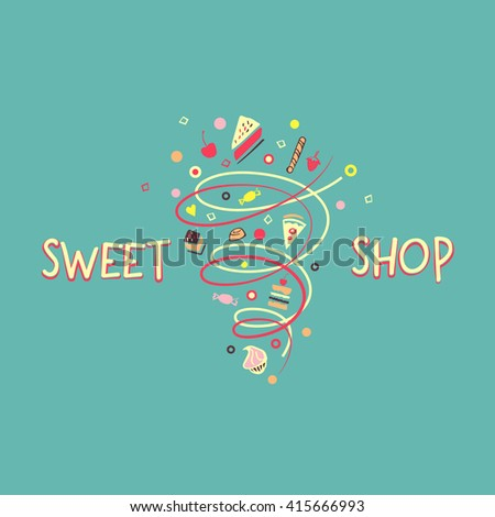 Logo template for confectionery, bakery. Candy store. Candy and cookies. Bright, festive style.Sweet shop. - stock photo