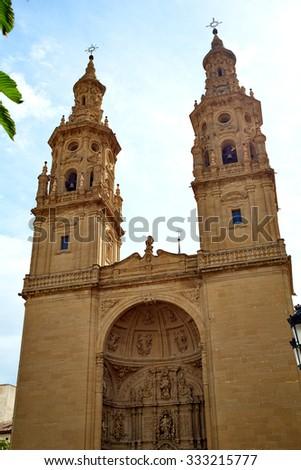 Logrono Cathedral of Santa Maria la Redonda in La Rioja way of saint james - stock photo
