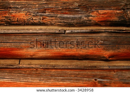 Logs from cabin used as background,rustic - stock photo
