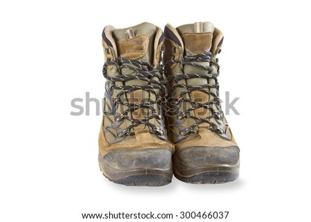 lOld Boots isolated on white background - stock photo