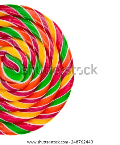 Lollipop candy on white background, rainbow colours - stock photo