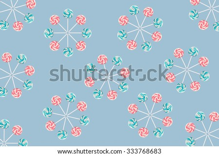 Lollipop wheels on blue. - stock photo