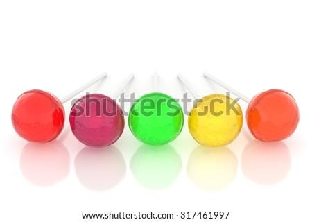 Lollipops on white - stock photo