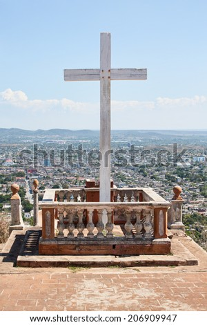 Loma de la Cruz or Hill of the Cross in Holguin, capital city of the province of Holguin, Cuba. - stock photo