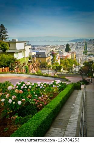 Lombard street on Russian hill, San Francisco - stock photo