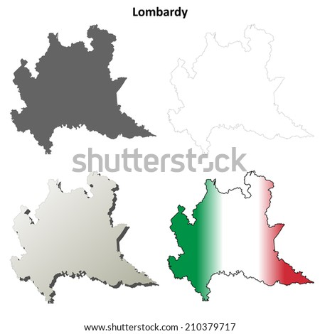 Lombardy blank detailed outline map set - jpg version - stock photo