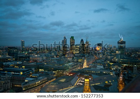 London aerial at dusk - stock photo