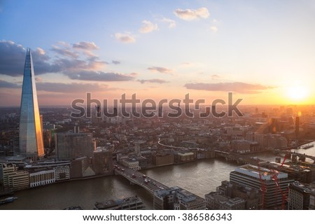 London aerial view at sunset - stock photo