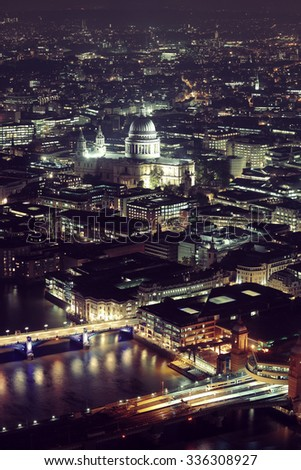 London aerial view panorama at night with urban architectures. - stock photo