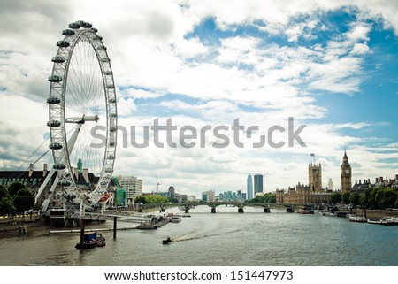 London afternoon. London eye, County Hall, Westminster Bridge, Big Ben and Houses of Parliament. - stock photo