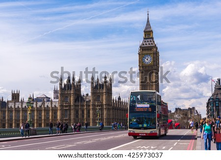 LONDON - APR 11:Big Ben on April 12, 2015 in London, England. The road in front of the big ben the popular place for travelers  - stock photo