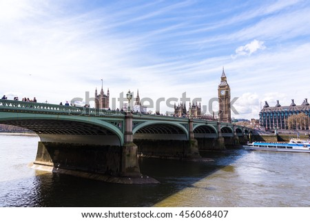 LONDON - APR 12:Big Ben on April 12, 2015 in London, England. The road in front of the big ben the popular place for travelers - stock photo