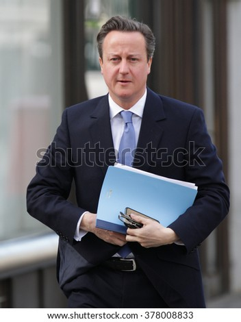 LONDON - APR 19, 2015: Prime Minister David Cameron seen at the BBC for the Andrew Marr Show at BBC broadcasting House on Apr 19, 2015 in London - stock photo