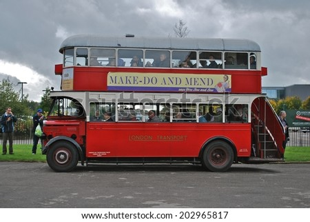 LONDON - APRIL 11: A vintage London bus in service at the annual Cobham Bus Museum Gathering. April 11, 2010 in London. - stock photo