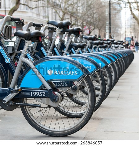 LONDON - APRIL 14, 2013: Barclays Cycle Hire. Barclays Cycle Hire (BCH) is a public bicycle sharing scheme in London, currently with 8,000 cycles and 570 docking station. - stock photo