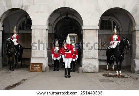 LONDON - APRIL 5,2008: Changing of the Guard London on April 5, 2008 in London. - stock photo