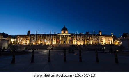 London - April 10: National Gallery on Trafalgar Square on April 10, 2014 in London - stock photo