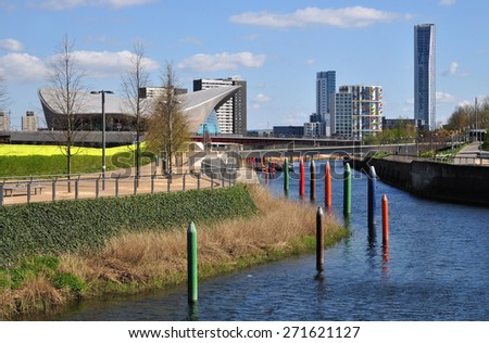 LONDON - APRIL 18, 2015. New buildings and landscaping transform the environment at Stratford; part of a huge regeneration programme from industrial wasteland in the Borough of Newham, London. - stock photo