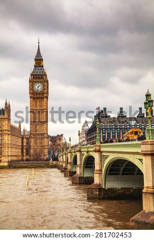 LONDON - APRIL 4: Overview of London with the Elizabeth Tower on April 4, 2015 in London, UK. It's officially known as the Elizabeth Tower, renamed as such to celebrate the Jubilee of Elizabeth II. - stock photo