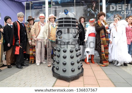LONDON - APRIL 28:People in Cosplay costume for the Sci Fi London Parade which marks the start of the 2013 Sci Fi London Film Festival  Stratford London April 28th, 2013 in London England. - stock photo