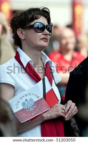 LONDON - APRIL 18: Poland mourns the victims of a plane crash near Smolensk in which the Polish president Lech Kaczynski was killed with his wife Maria Kaczynska. April 18, 2010 in London, UK - stock photo