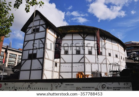 LONDON - APRIL 26, 2014. Shakespeare's Globe is a replica of the original 1599 Elizabethan Theatre destroyed by fire in 1613, rebuilt in 1614 and demolished in 1644 at Southwark, London, UK. - stock photo