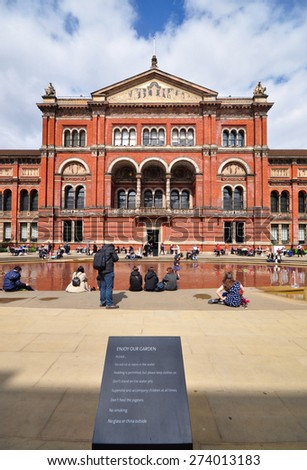 LONDON - APRIL 25, 2015. The John Madejski Garden at the Victoria & Albert Museum. The 1852 building houses the world's largest collection of decorative arts and design, located in London. - stock photo