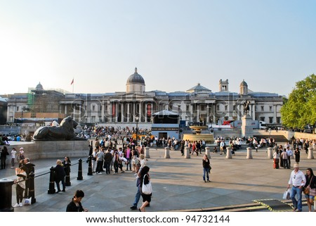 LONDON - APRIL 29: The National Gallery and statue of King George IV in Trafalgar Square on April 29, 2011 in London, England. Trafalgar Square is a public space and tourist attraction of London. - stock photo
