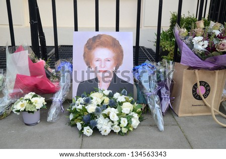 LONDON - APRIL 8: Tributes for Ex British Prime Minster Margret Thatcher Victoria in London April 8th, 2013 in London, England. - stock photo
