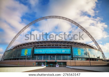 LONDON - APRIL 6: Wembley stadium on April 6, 2015 in London, UK. It's a football stadium in Wembley Park, which opened in 2007 on the site of the original Wembley Stadium which was demolished in 2003 - stock photo