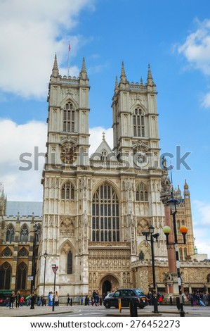 LONDON - APRIL 5: Westminster Abbey church (Collegiate Church of St Peter at Westminster) on April 5, 2015 in London, UK.  It is one of the most notable religious buildings in the United Kingdom. - stock photo