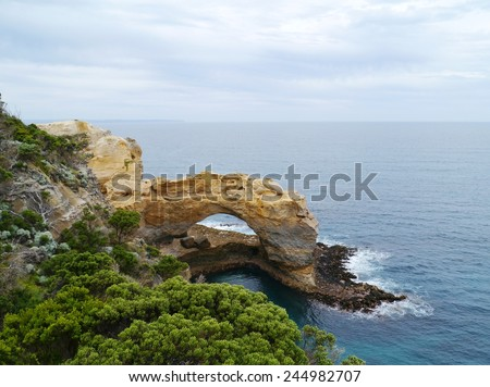 London Arch is one of the  natural arches in the Port Campbell National Park in  Australia - stock photo