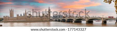 London at dusk. Autumn sunset over Westminster Bridge. - stock photo