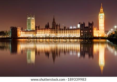 London at night - Houses of parliament, Big Ben - stock photo
