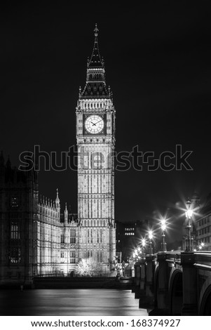 London at Night in Black in Whait Color- London City Street, Big Ben Tower - stock photo