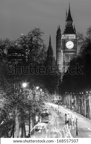 London at Night in Black in White Color- London City Street, Big Ben Tower - stock photo
