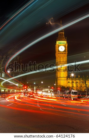 London at night, UK - stock photo