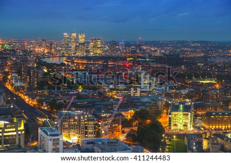 London at sunset. Canary Wharf view at night - stock photo