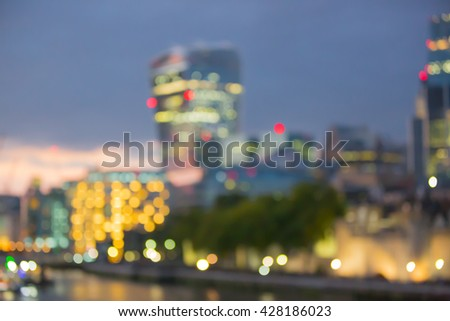 London at twilight and first night's lights, blur background - stock photo