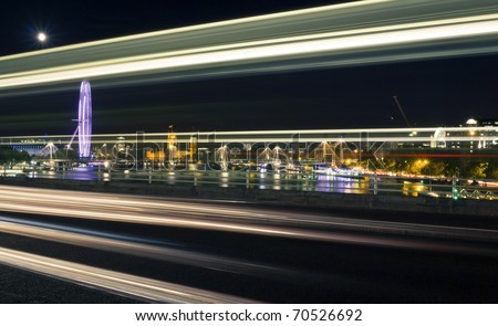 London at twilight. London eye, Big Ben and Houses of Parliament. - stock photo