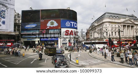 LONDON - AUG 2: View of Piccadilly Circus, road junction, built in 1819, famous tourist attraction, links to West End, Regent Street, Hay Market, Leicester Square, on Aug 2, 2010 in London, UK. - stock photo