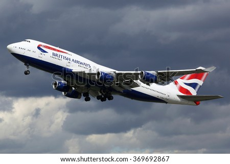 LONDON - AUGUST 28: A British Airways Boeing 747 taking off on August 28, 2015 in London. British Airways is the flag carrier airline of the United Kingdom based at London Heathrow airport. - stock photo