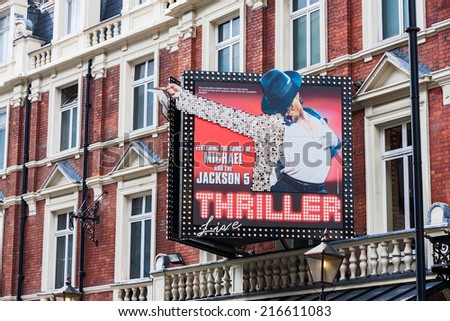 LONDON -AUGUST 4: Featuring Michael Jackson live on August 4, 2014  in London. Michael Jackson's Thriller Live is featured at the Lyric Theater, the oldest surviving theater on Shaftesbury Avenue.  - stock photo