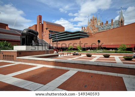 LONDON - AUGUST 4. The British Library holds 150 million books, manuscripts, philatic and cartographic items, music scores and recordings. The landscaped concourse on August 4, 2013, in London, UK. - stock photo