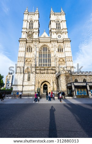 LONDON - AUGUST 03: The Westminster Abbey and Westminster Abbey Choir School, August 03, 2015. - stock photo