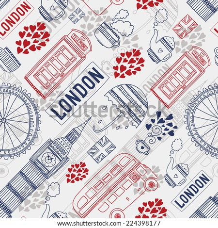 London background with tourism attractions and symbols. Big ben, bus, tea,cup, flag, telephone and  umbrella. - stock photo