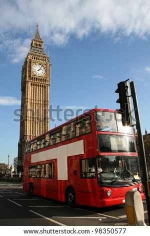 London - Big Ben and red double decker bus with room for your text - stock photo