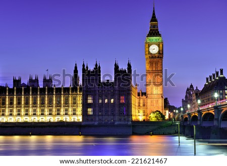 London big ben and westminster building and bridge at night - stock photo