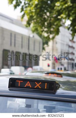 London black cab sign showing 'for hire' - stock photo